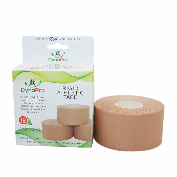 DynaPro Rigid Athletic Tape. The availability of different tape strengths represnts one of the pros of taping vs bracing.